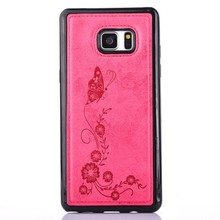 Retro Style Butterfly Flower Printing Leather Phone Cover in TPU Soft Case for iPhone for Samsung Note 7