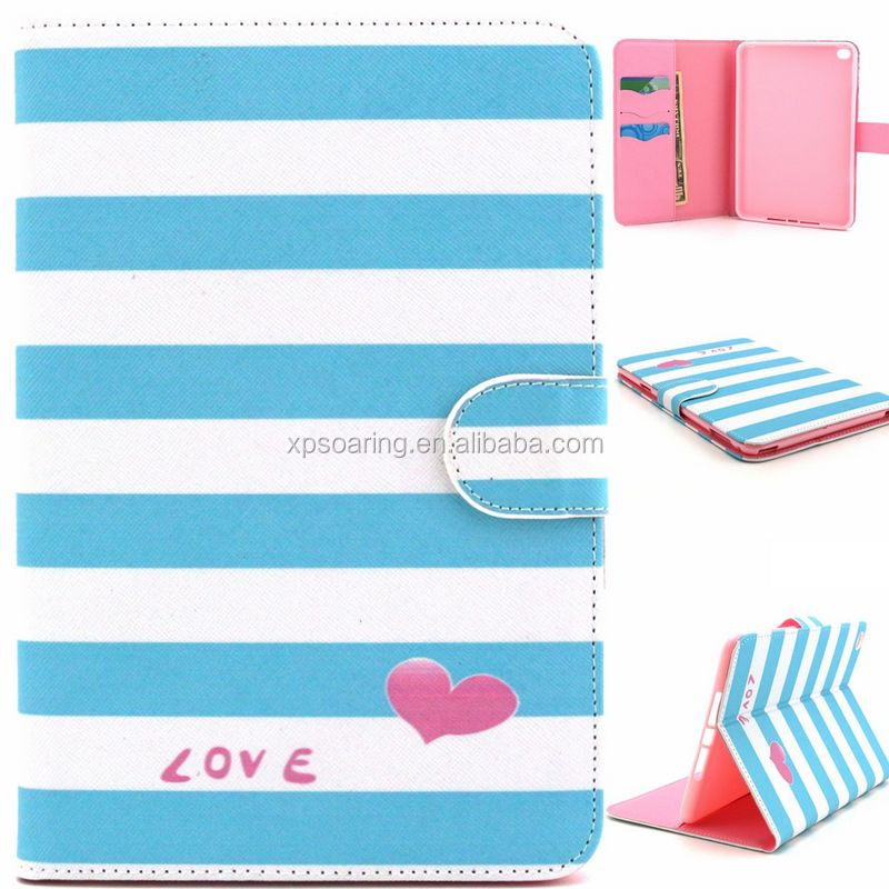 Wholesale flip leather case with card slots for iPad mini 4