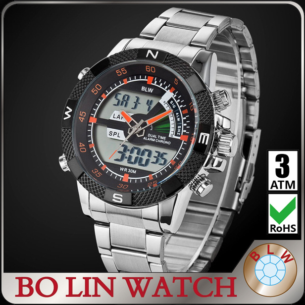 bo lin watch with led digital, business men's watch,big men watches luxury