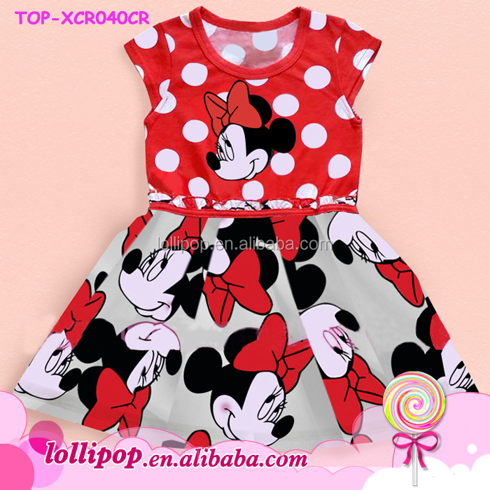 BabyLittle girls Sleeveless minnie dress latest design mouse pattern children long cotton frocks designs for teenagers pictures