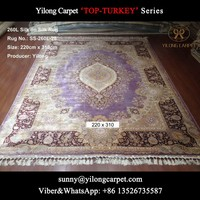 purple 220x310cm double knots silk on silk luxury home Kashmir handknotted carpet