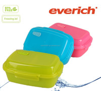 double layer plastic lunch box with lock and removeable freezing gel