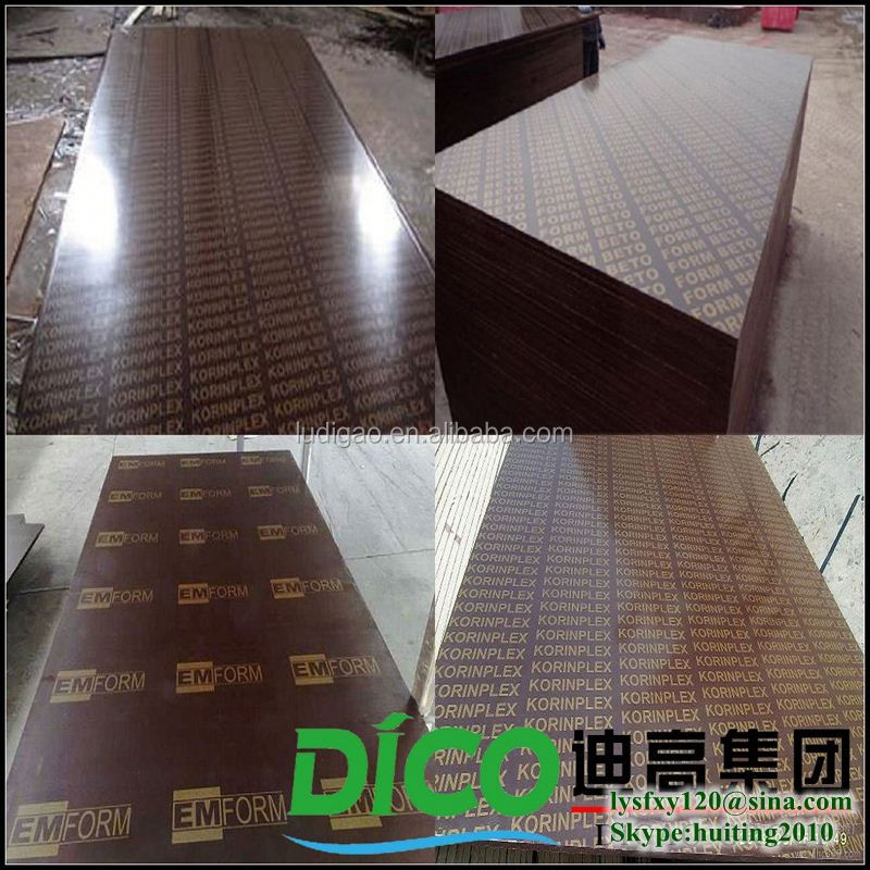 Brown Film Faced Plywood Prices Poplar Core/Hardwood Core Brown Film Faced Glued Laminated Timber