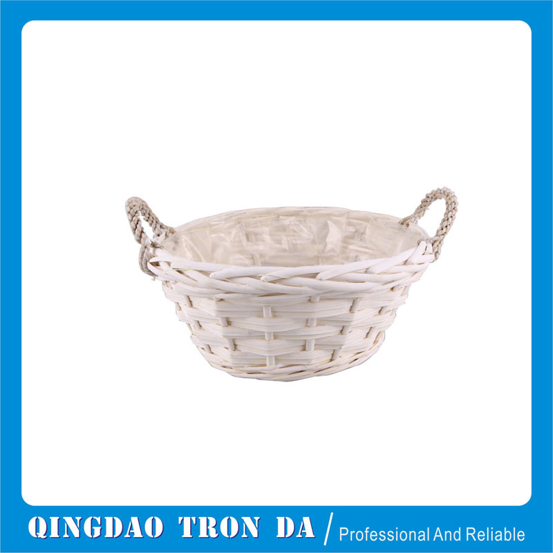 Outdoor small white willow basket