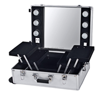 Customized make up case aluminum tool case with mirrow and bulbcosmetic display case