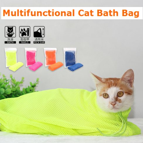 Multifunctional Polyester Cat Bath Bag Washing Cats Bathing Tools Cat Bathing Products Pet Products Wholesale