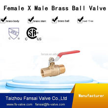 "High quality lead free copper cSA male female thread port with long handle forged two piece body1/2"" 3/4""brass ball valve"