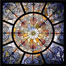 Tiffany Stained glass ceiling roof skylight square shape type