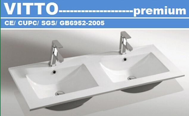 VITTO 48 inch ceramic double thin basin