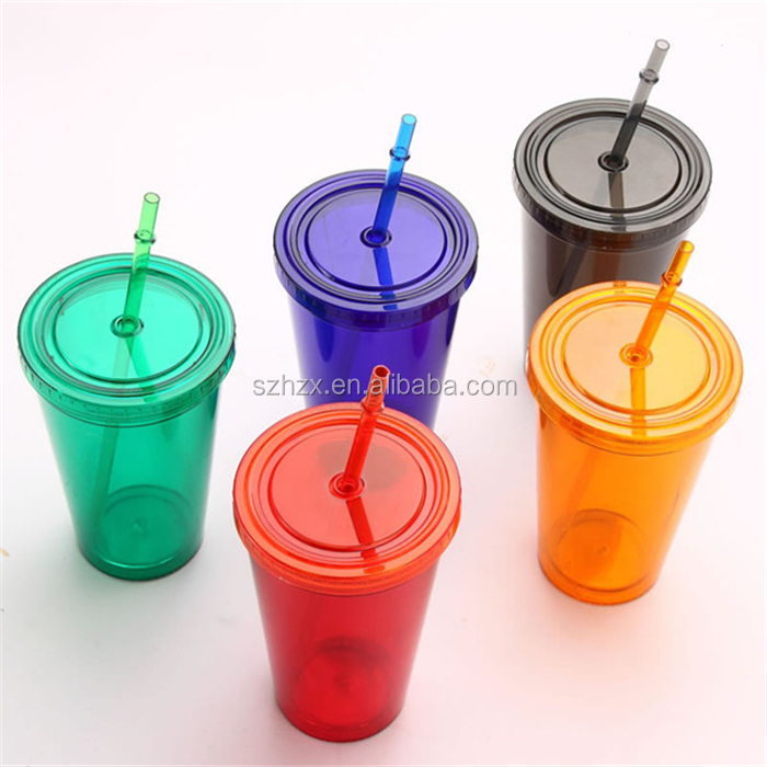 Hard Large Double Wall Plastic Cup with Lid and Straw