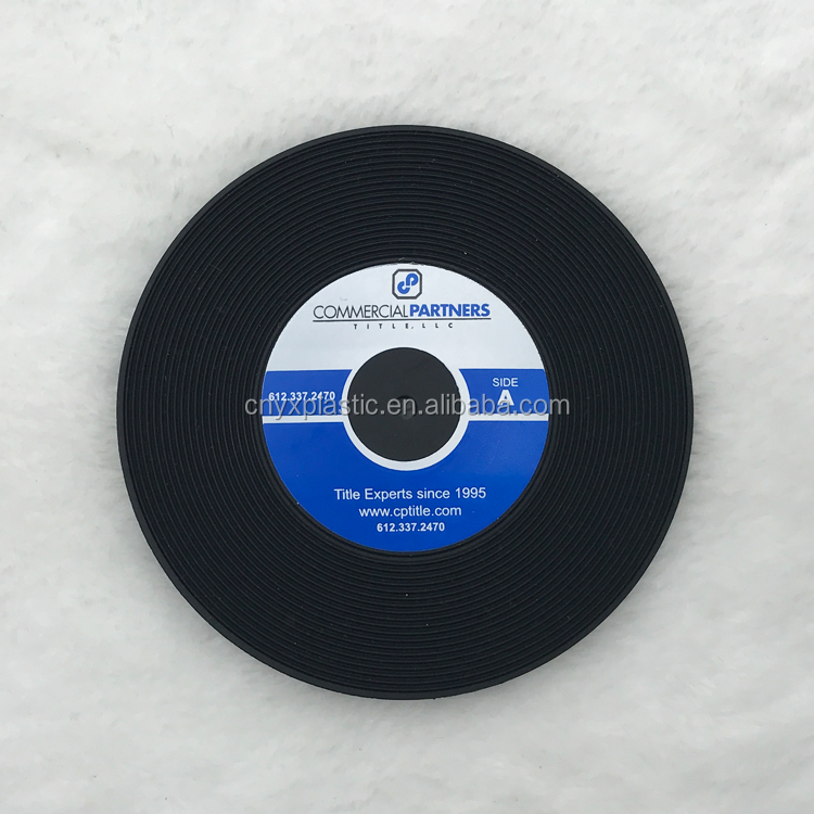 Promotional gift custom soft pvc vinyl record coaster for table decor