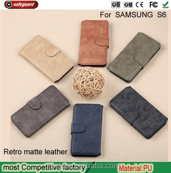 Retro Matte Flip Leather Wallet Case For Samsung Galaxy S6 for samsung accessary phone case