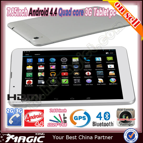 2014 Newest 7.85 inch IPS 3G Android 4.4 tablet pc computer/tablet pc games download/tablet pc guangzhou