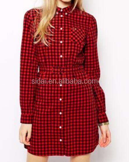 high neck long sleeves women winter check print dress