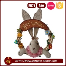 Easter rattan wreath with beautiful rabbit decorations for wall