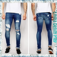 Sun Bleached Blue Distressed Raw Edged Skinny Denim Men's Jeans Urban Vogue Style