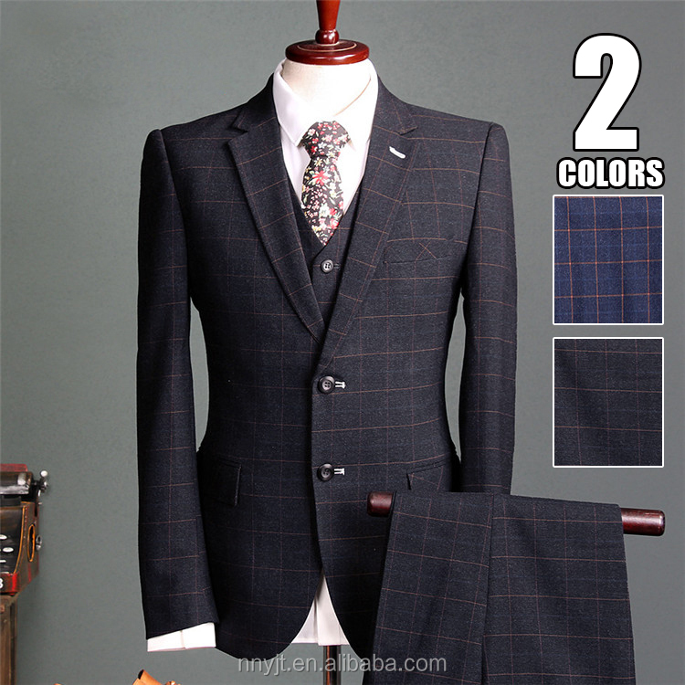 2017 Check Design Suits for Men Office Formal Suit Man