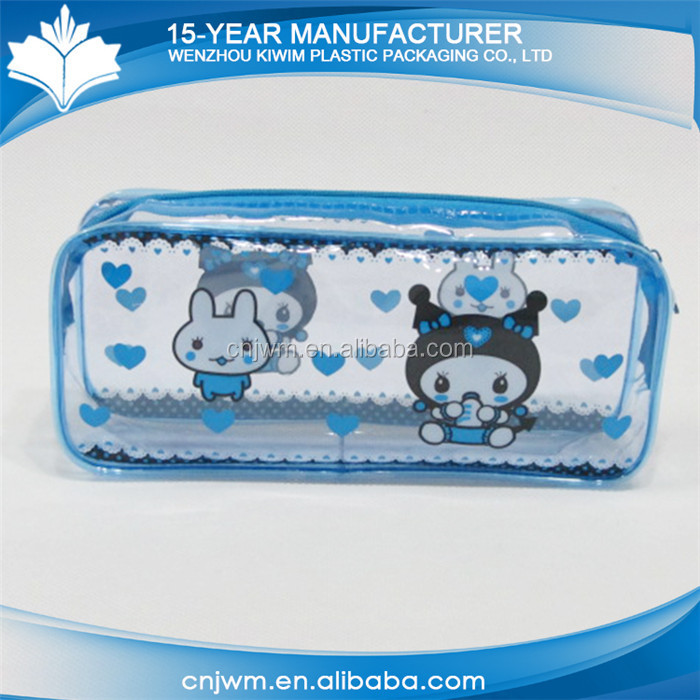 Promotional cheap kids cartoon printing cute pvc pencil case