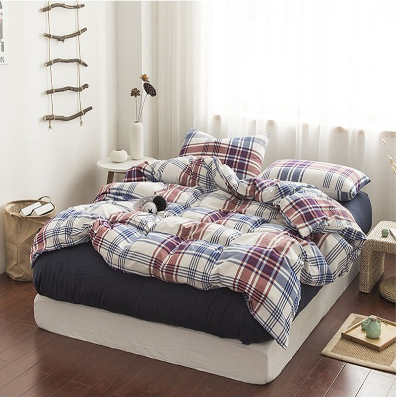 100%cotton yarn dyed 4pcs chequer home hotel washed Bedding Set Duvet Cover sets