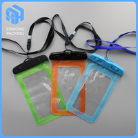Custom plastic waterproof phone pouch with plastic lock / pvc waterproof phone bag with string