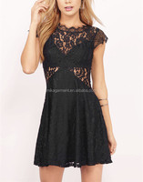 MIKA50229 cap sleeve black lace dress for women