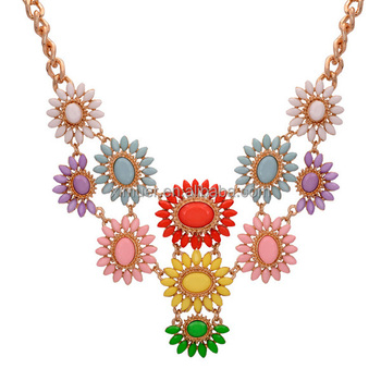 Latest wholesale colorful sun flower jewelry necklace