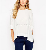 Oversize Scoop Neckline T Shirt Split Asymmetric Hem Kimono T-Shirt with Sexy V Back