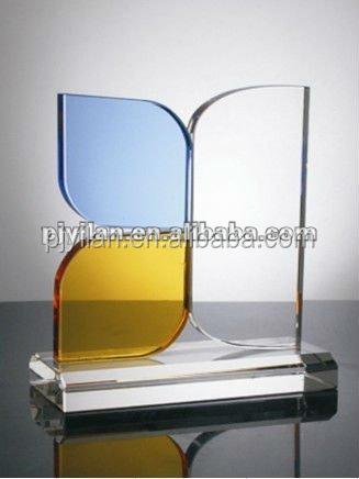 good design elegant k9 glass blue crystal award trophy plaque with blue color yellow color unique crystal award