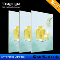 Edgelight Shanghai Manufacture aluminium fabric picture frame light box with high brightless