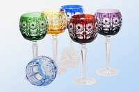 Luxury colored crystal wine glasses consist of 6 pieces, 220 ml, 200 mm, IceFord Crystal Bohemia, Model: 069