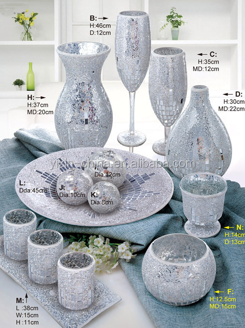 Any Shape Table Centerpeice Sets Europe Style Home Decoration Silvery Color Artificial Mosaic Recycled Glass Vase