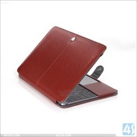 Best quality folio leather case for Macbook Air 12 full body deluxe cover laptop accessory