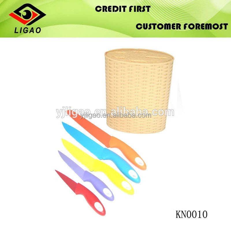 Promotion Item Colored Coating Stainless Steel 5pcs Knife Set Kitchen
