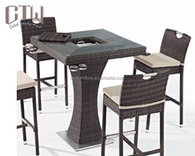 Outdoor furniture bar set high bar tops table with ice pot