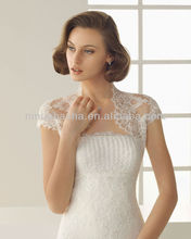 Attractive 2014 Strapless Applique Beads A-Line Wedding Dress Gowns With High Neck Short Sleeve Lace Bolero Jacket NB005