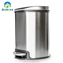 Apple shape lid 5 12 30 L mirror satin finish stainless steel trash can dust pedal bin