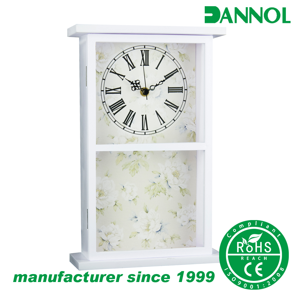 Hot sale Guangzhou room interior decoration analog clock with glove box / key holder