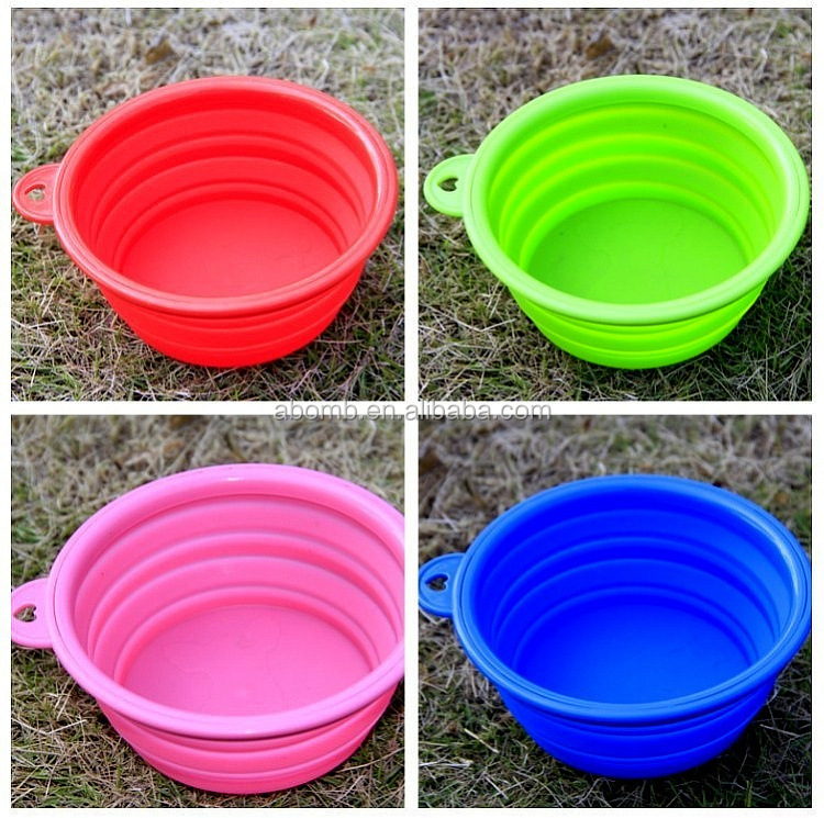 2016 Most popular cute pure silicone Eco-friendly portable framed pet bowl for travel/Dog bowl /foldable silicone pet bowl