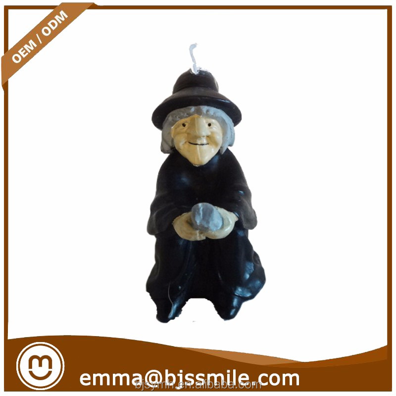 Wholesale Fashionable Special Halloween decor witch riding a broom candle