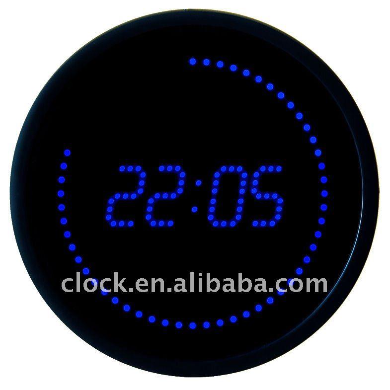 Miroir rond led horloge murale horloge murale id de produit 489845111 - Horloge orium led bleue ...