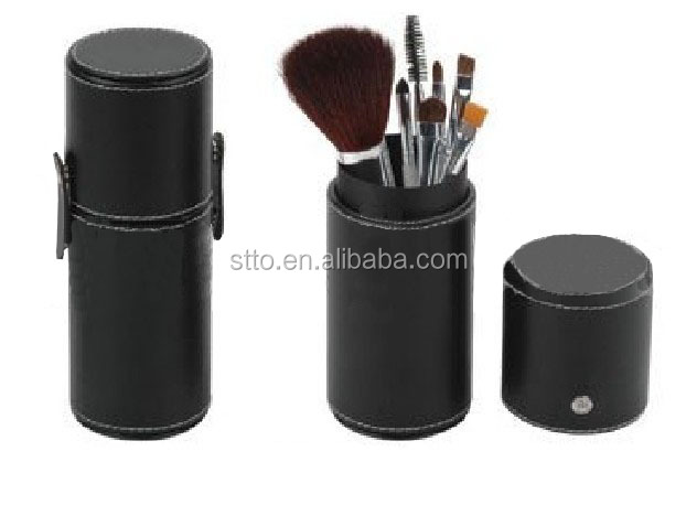 Packaging set black travel cosmetic brush makeup bag with synthetic hair,goat hair for face