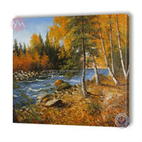 Hand painted scenery oil painting with decorative