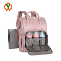 Travel Diaper Bag Diaper Backpack with Stroller Straps Pink