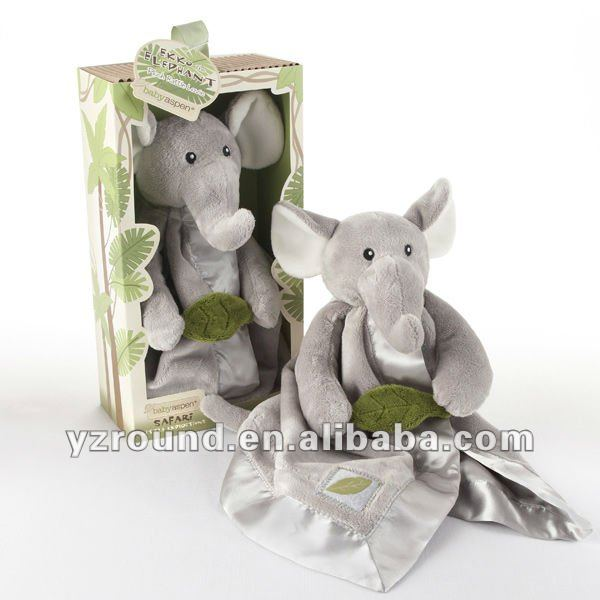 elephant Little Expeditions Plush Rattle Lovie with Crinkle Leaf