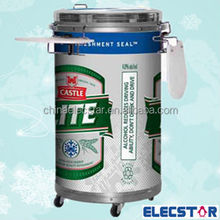 50L glass door display can cooler/ barrel shape refrigerator/round fridge/retro party cooler with wheel