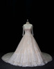 luxury lace bridal gown IIIusion&A-line wedding dress with beading
