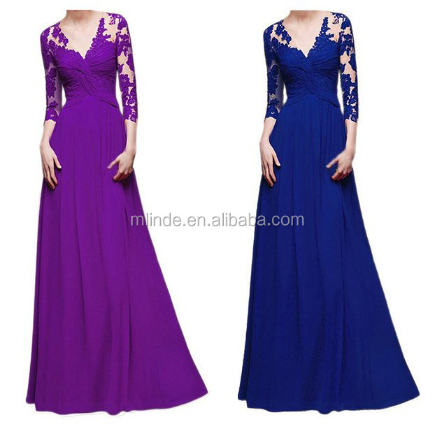 Lades Lace dress Deep V Bodycon Long Bridesmaid Prom Evening Dresses Latest 2016