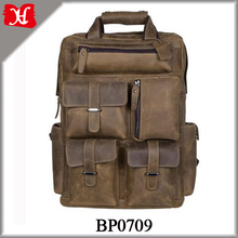 Retro Style High Quality Leather Men Brown Multifunctional Backpack