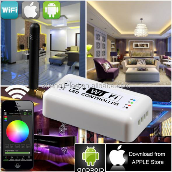 2014 new design abaya Android/iPad car flashing led light strip wifi 4channerls led wifi controller