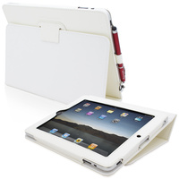 Snugg case for iPad 1 Case Cover and Flip Stand in White Leather